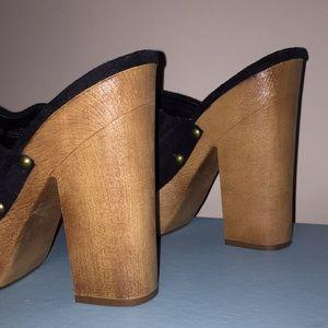 Black Suede Retro Heel